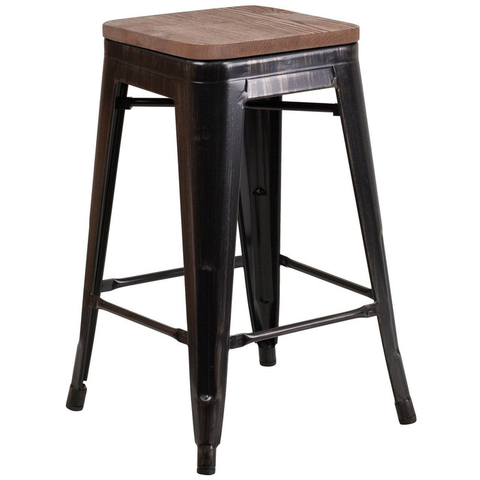 "Flash Furniture CH-31320-24-BQ-WD-GG 24"" High Backless Black-Antique Gold Metal Counter Height Stool with Square Wood Seat"