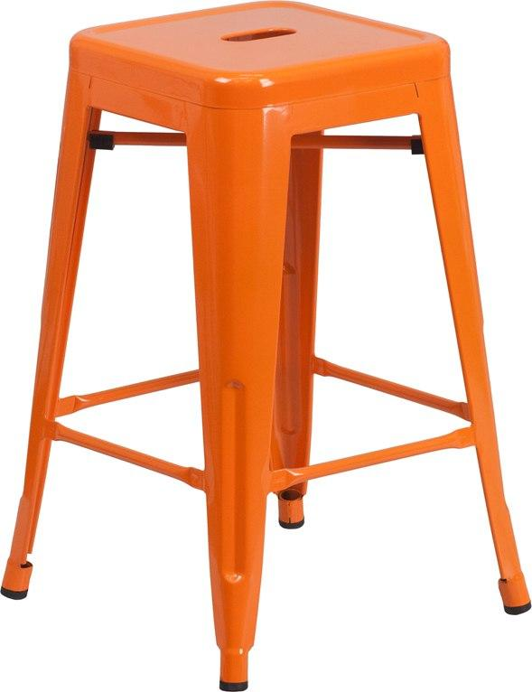 Flash Furniture CH-31320-24-OR-GG 24'' High Backless Orange Metal Indoor-Outdoor Counter Height Stool with Square Seat