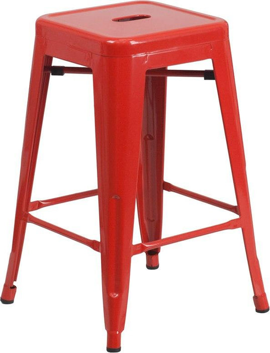 Flash Furniture CH-31320-24-RED-GG 24'' High Backless Red Metal Indoor-Outdoor Counter Height Stool with Square Seat