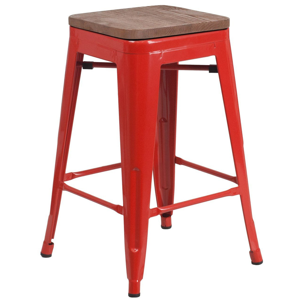 "Flash Furniture CH-31320-24-RED-WD-GG 24"" High Backless Red Metal Counter Height Stool with Square Wood Seat"