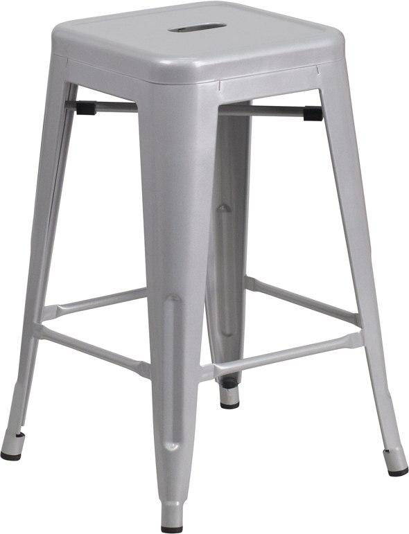 Flash Furniture CH-31320-24-SIL-GG 24'' High Backless Silver Metal Indoor-Outdoor Counter Height Stool with Square Seat