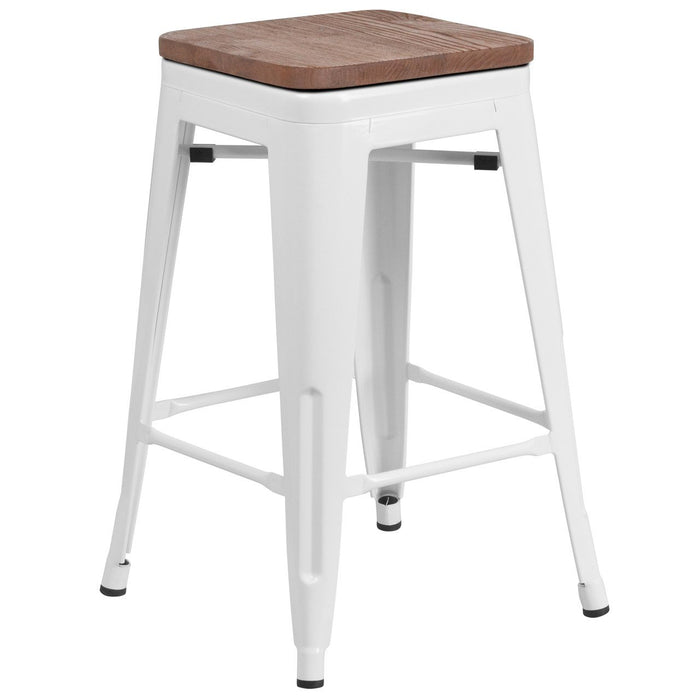 "Flash Furniture CH-31320-24-WH-WD-GG 24"" High Backless White Metal Counter Height Stool with Square Wood Seat"