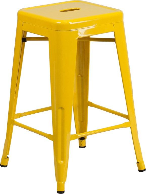 Flash Furniture CH-31320-24-YL-GG 24'' High Backless Yellow Metal Indoor-Outdoor Counter Height Stool with Square Seat