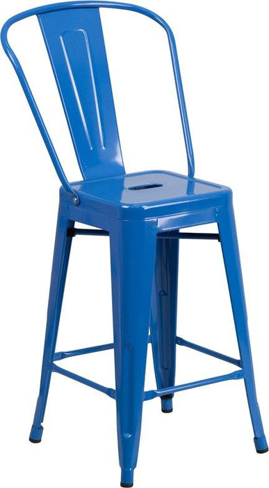 Flash Furniture CH-31320-24GB-BL-GG 24'' High Blue Metal Indoor-Outdoor Counter Height Stool with Back