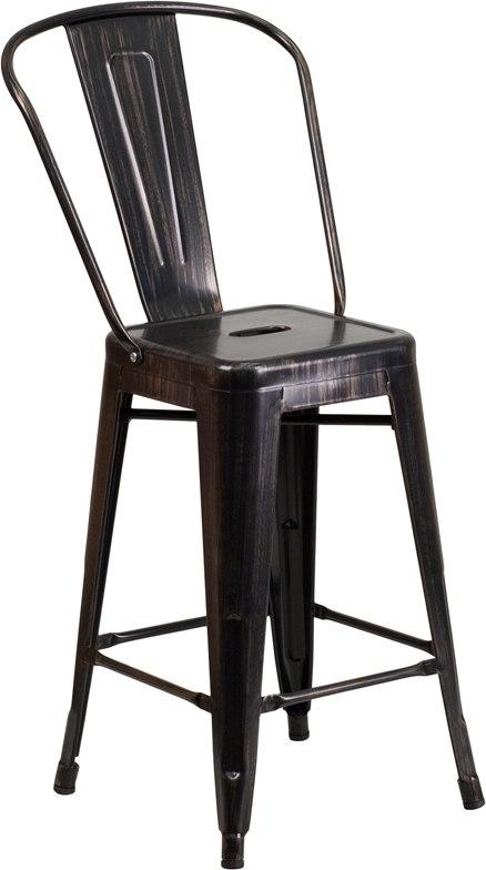 Flash Furniture CH-31320-24GB-BQ-GG 24'' High Black-Antique Gold Metal Indoor-Outdoor Counter Height Stool with Back