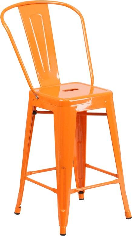 Flash Furniture CH-31320-24GB-OR-GG 24'' High Orange Metal Indoor-Outdoor Counter Height Stool with Back