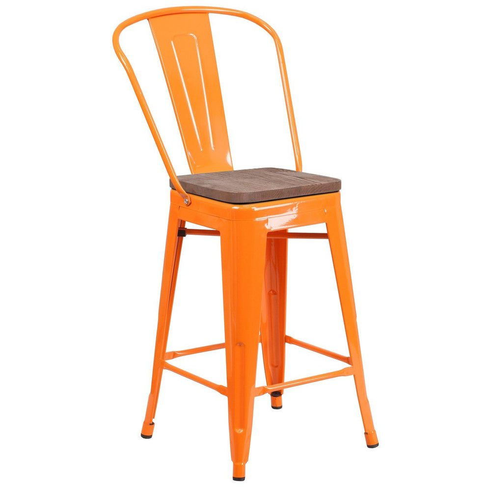 "Flash Furniture CH-31320-24GB-OR-WD-GG 24"" High Orange Metal Counter Height Stool with Back and Wood Seat"