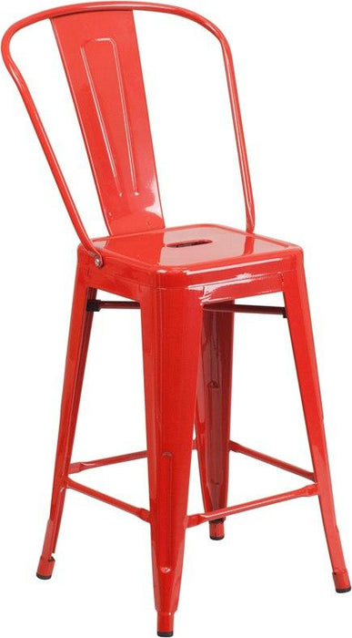 Flash Furniture CH-31320-24GB-RED-GG 24'' High Red Metal Indoor-Outdoor Counter Height Stool with Back