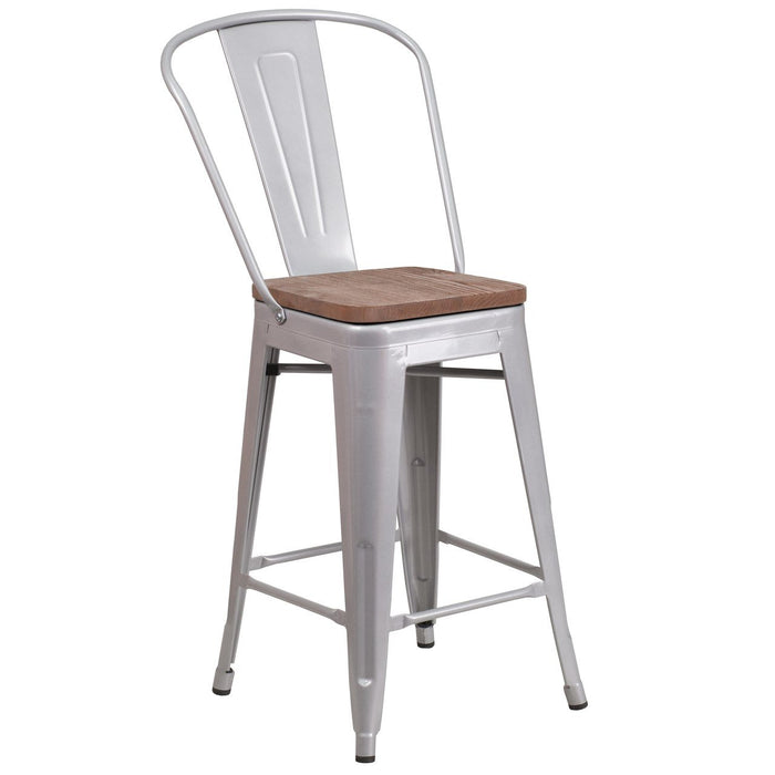"Flash Furniture CH-31320-24GB-SIL-WD-GG 24"" High Silver Metal Counter Height Stool with Back and Wood Seat"