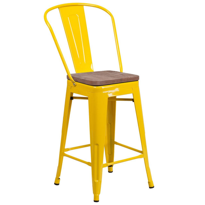 "Flash Furniture CH-31320-24GB-YL-WD-GG 24"" High Yellow Metal Counter Height Stool with Back and Wood Seat"
