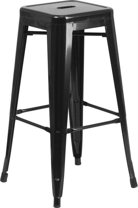 Flash Furniture CH-31320-30-BK-GG 30'' High Backless Black Metal Indoor-Outdoor Barstool with Square Seat