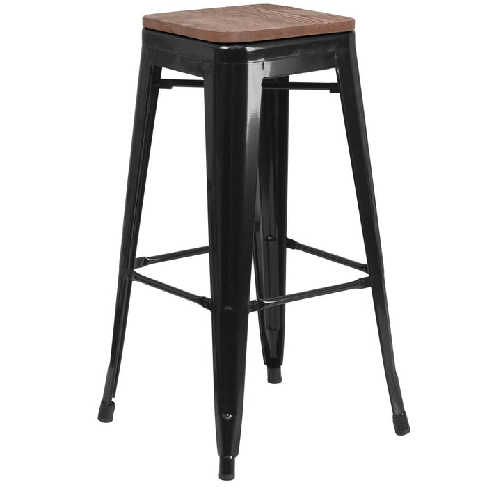 "Flash Furniture CH-31320-30-BK-WD-GG 30"" High Backless Black Metal Barstool with Square Wood Seat"