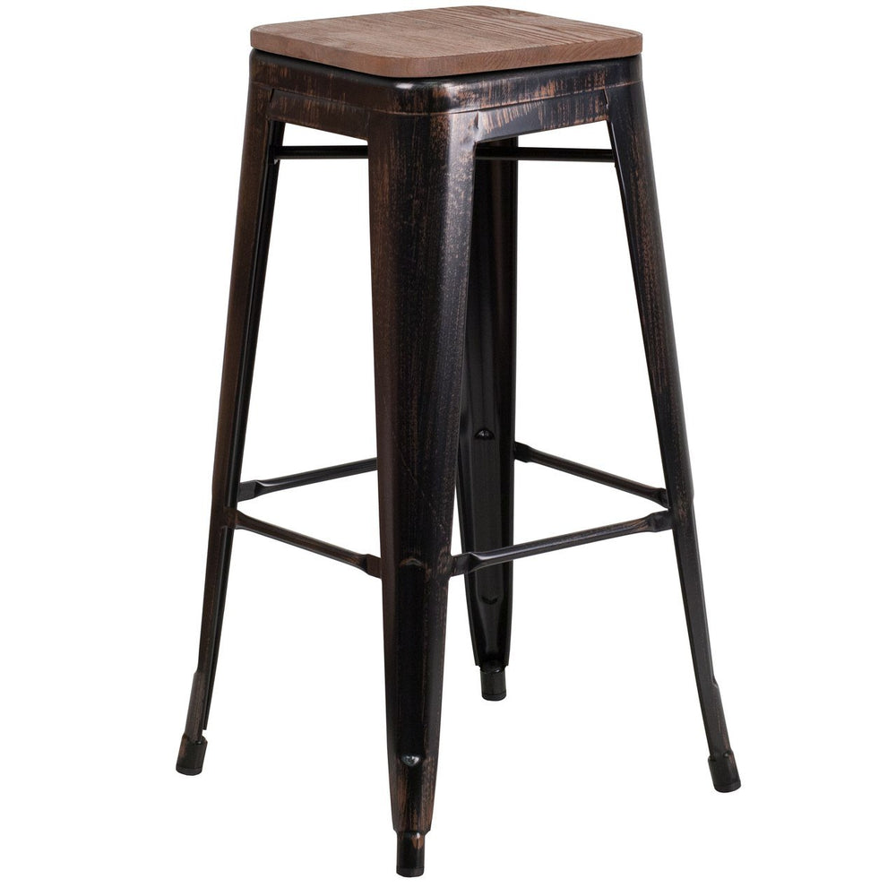"Flash Furniture CH-31320-30-BQ-WD-GG 30"" High Backless Black-Antique Gold Metal Barstool with Square Wood Seat"