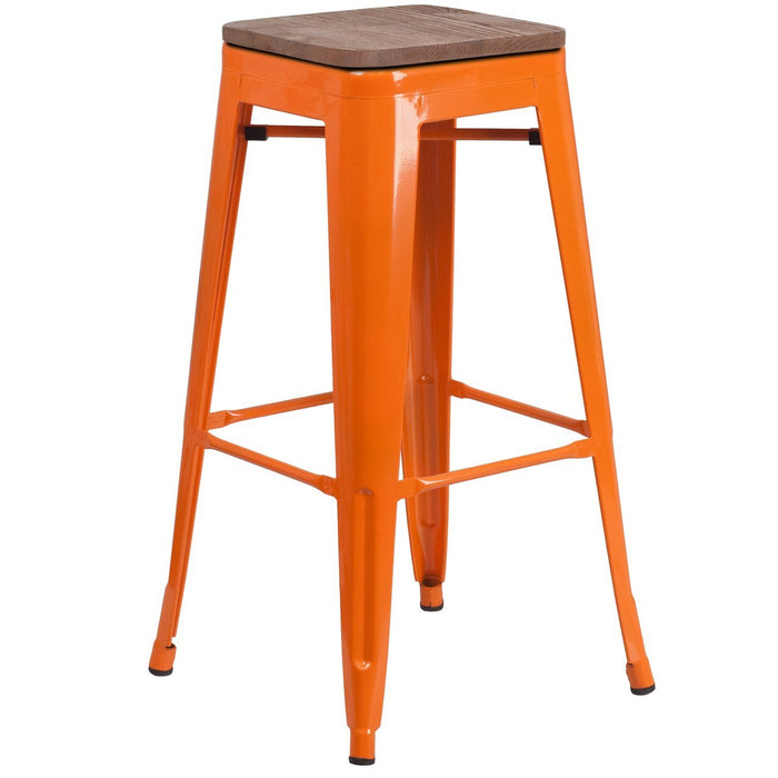 "Flash Furniture CH-31320-30-OR-WD-GG 30"" High Backless Orange Metal Barstool with Square Wood Seat"