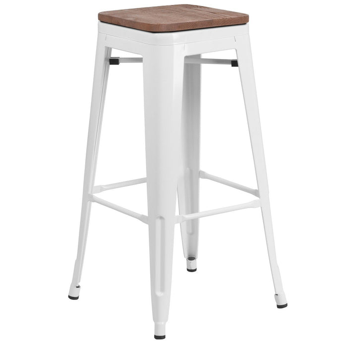 "Flash Furniture CH-31320-30-WH-WD-GG 30"" High Backless White Metal Barstool with Square Wood Seat"