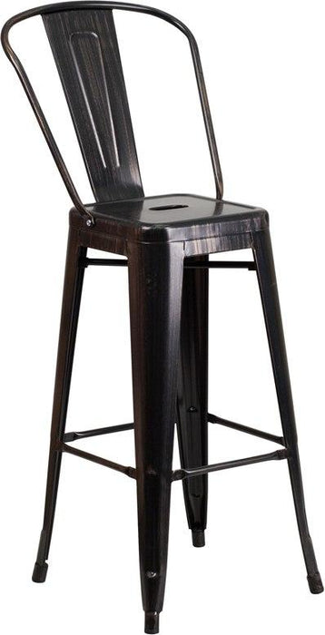 Flash Furniture CH-31320-30GB-BQ-GG 30'' High Black-Antique Gold Metal Indoor-Outdoor Barstool with Back