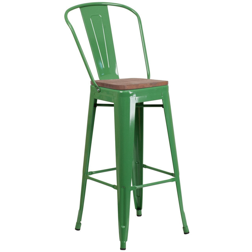 "Flash Furniture CH-31320-30GB-GN-WD-GG 30"" High Green Metal Barstool with Back and Wood Seat"