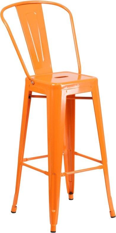 Flash Furniture CH-31320-30GB-OR-GG 30'' High Orange Metal Indoor-Outdoor Barstool with Back