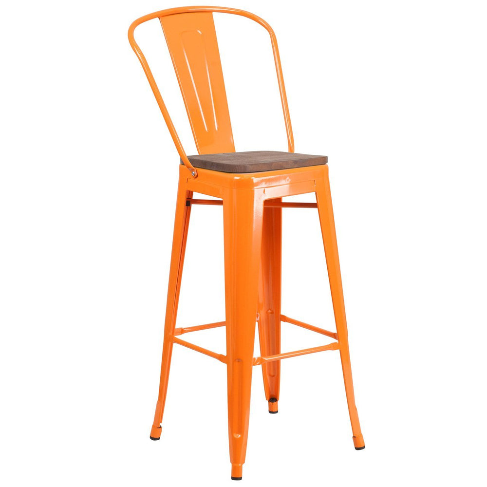 "Flash Furniture CH-31320-30GB-OR-WD-GG 30"" High Orange Metal Barstool with Back and Wood Seat"