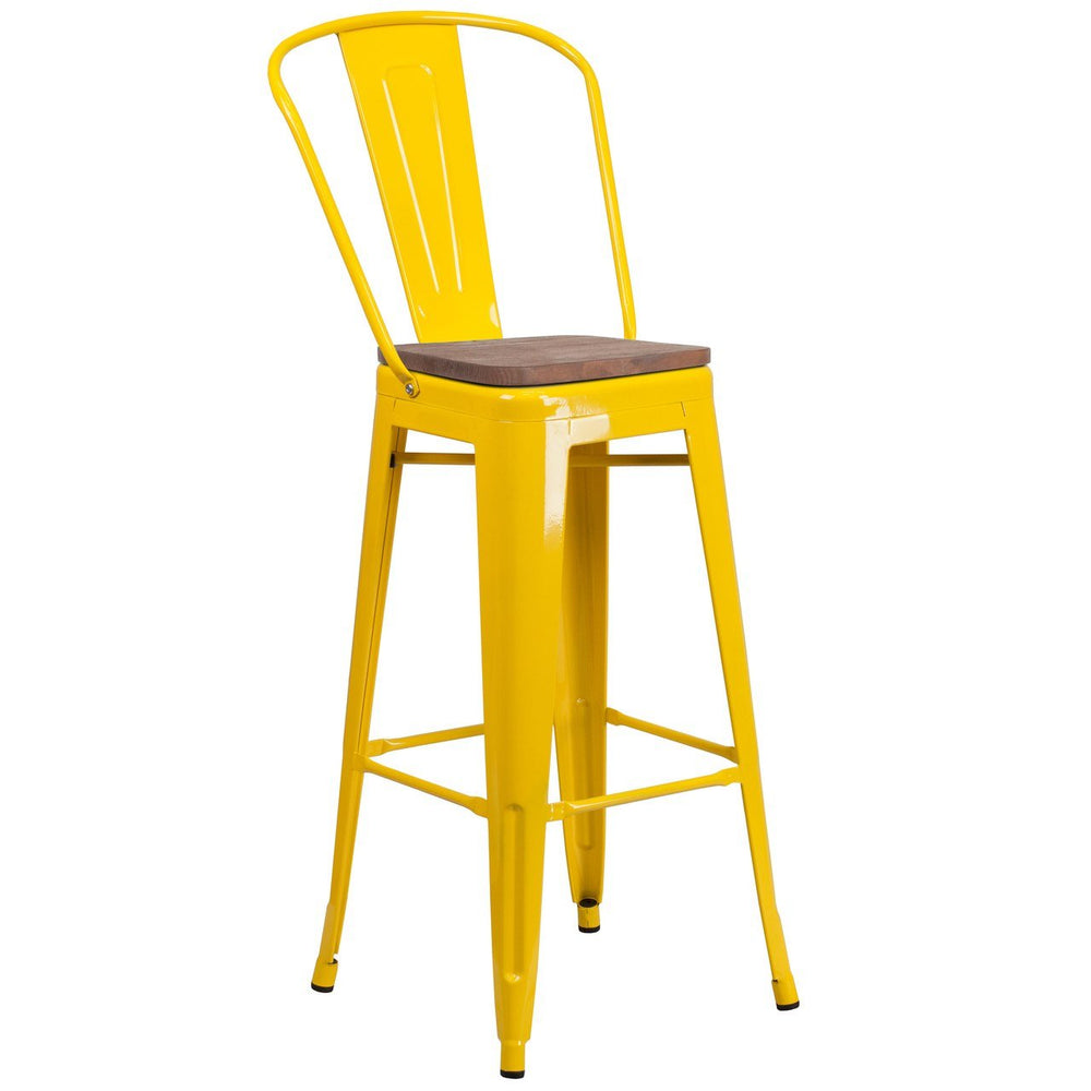 "Flash Furniture CH-31320-30GB-YL-WD-GG 30"" High Yellow Metal Barstool with Back and Wood Seat"