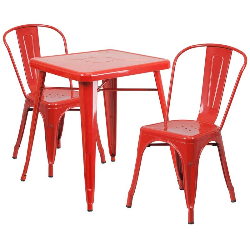 Flash Furniture CH-31330-2-30-RED-GG 23.75'' Square Red Metal Indoor-Outdoor Table Set with 2 Stack Chairs