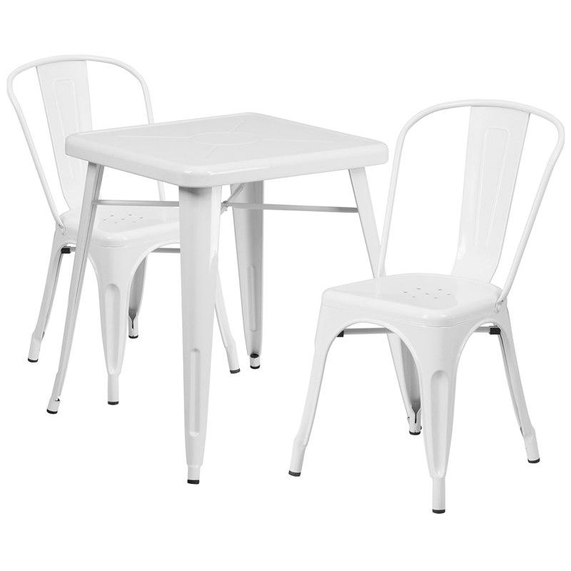 Flash Furniture CH-31330-2-30-WH-GG 23.75'' Square White Metal Indoor-Outdoor Table Set with 2 Stack Chairs