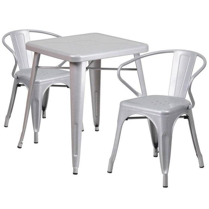 Flash Furniture CH-31330-2-70-SIL-GG 23.75'' Square Silver Metal Indoor-Outdoor Table Set with 2 Arm Chairs