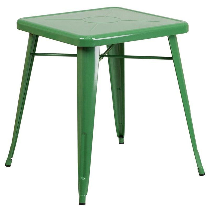 Flash Furniture CH-31330-29-GN-GG 23.75'' Square Green Metal Indoor-Outdoor Table