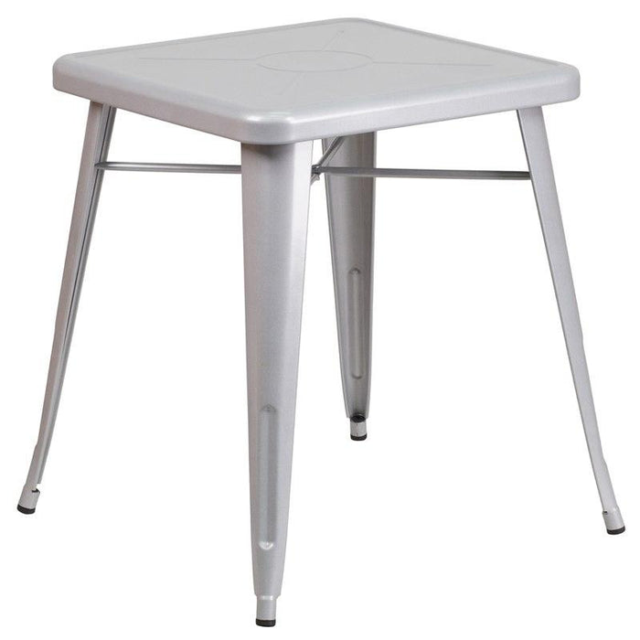 Flash Furniture CH-31330-29-SIL-GG 23.75'' Square Silver Metal Indoor-Outdoor Table