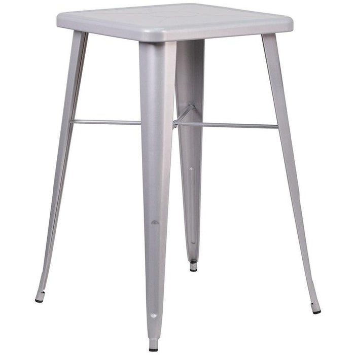 Flash Furniture CH-31330-SIL-GG 23.75'' Square Silver Metal Indoor-Outdoor Bar Height Table