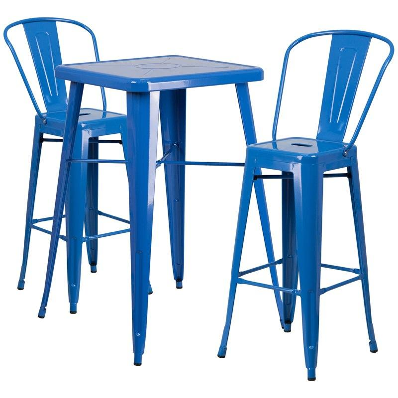 Flash Furniture CH-31330B-2-30GB-BL-GG 23.75'' Square Blue Metal Indoor-Outdoor Bar Table Set with 2 Stools with Backs