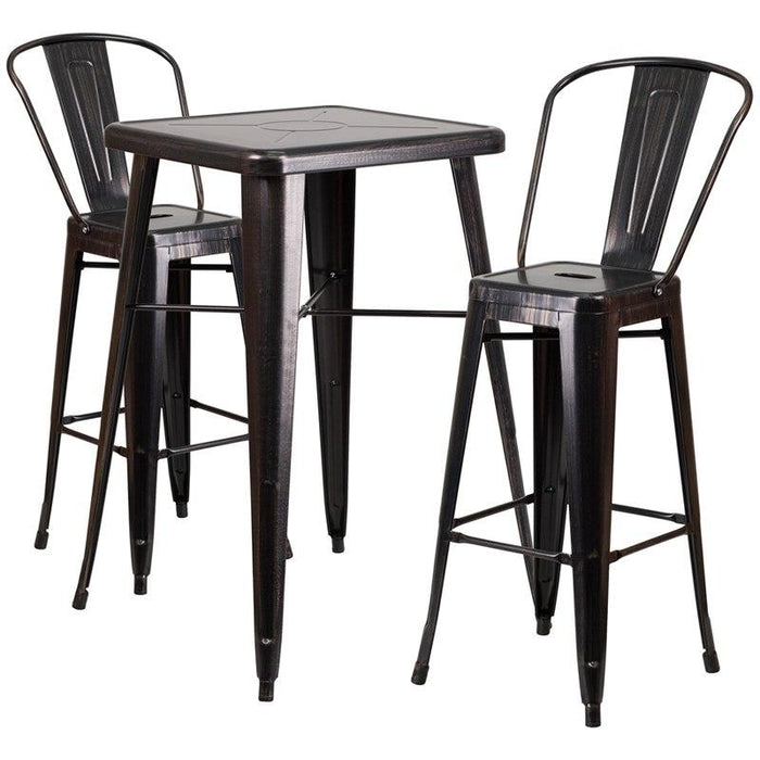 Flash Furniture CH-31330B-2-30GB-BQ-GG 23.75'' Square Black-Antique Gold Metal Indoor-Outdoor Bar Table Set with 2 Stools with Backs