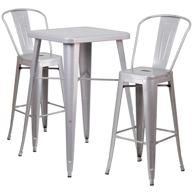 Flash Furniture CH-31330B-2-30GB-SIL-GG 23.75'' Square Silver Metal Indoor-Outdoor Bar Table Set with 2 Stools with Backs