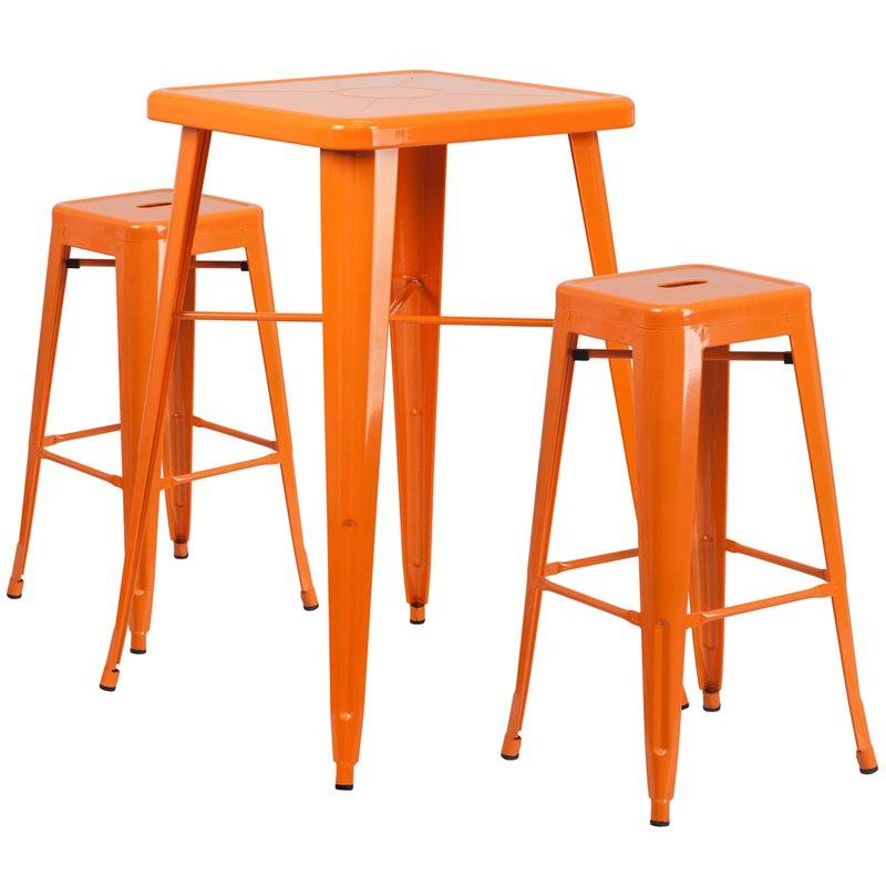 Flash Furniture CH-31330B-2-30SQ-OR-GG 23.75'' Square Orange Metal Indoor-Outdoor Bar Table Set with 2 Square Seat Backless Stools