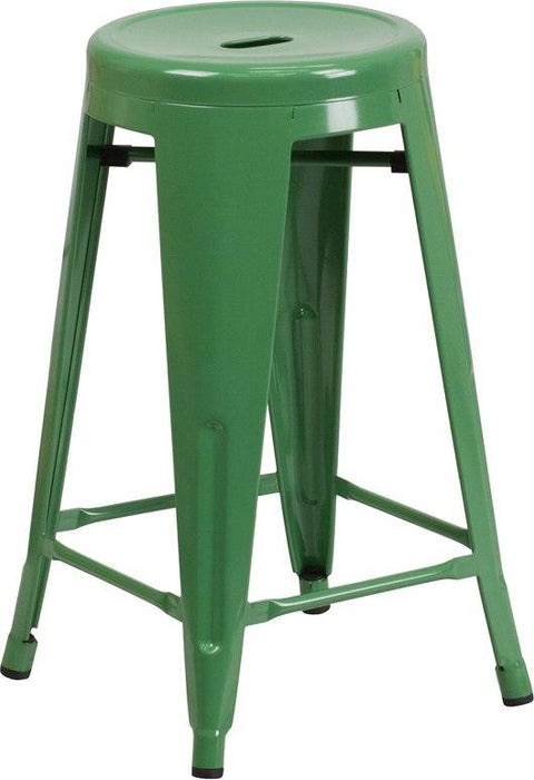 Flash Furniture CH-31350-24-GN-GG 24'' High Backless Green Metal Indoor-Outdoor Counter Height Stool with Round Seat