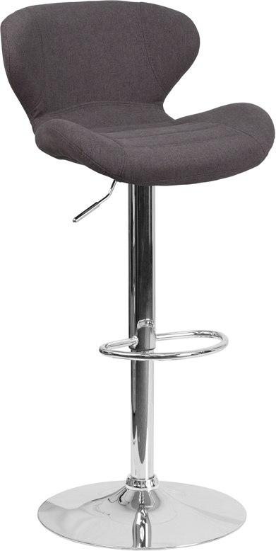 Flash Furniture CH-321-BKFAB-GG Contemporary Charcoal Fabric Adjustable Height Barstool with Chrome Base