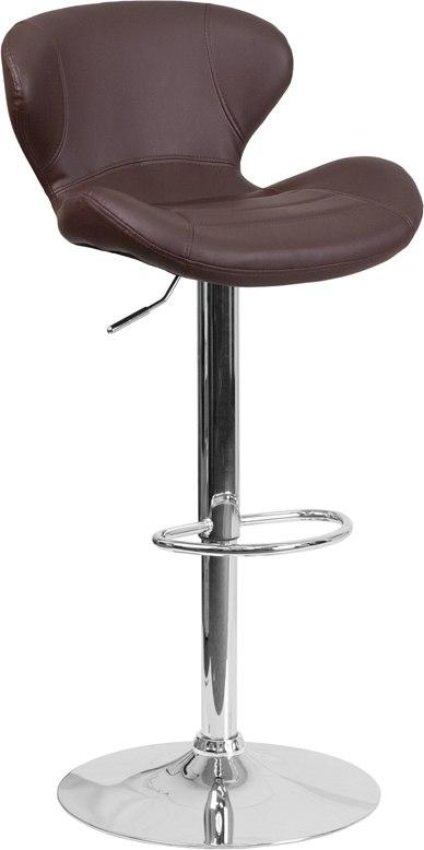 Flash Furniture CH-321-BRN-GG Contemporary Brown Vinyl Adjustable Height Barstool with Chrome Base