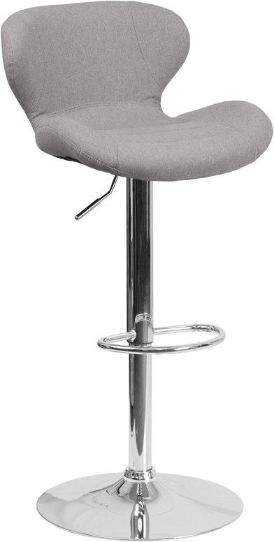 Flash Furniture CH-321-GYFAB-GG Contemporary Gray Fabric Adjustable Height Barstool with Chrome Base