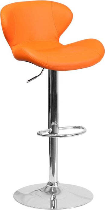 Flash Furniture CH-321-ORG-GG Contemporary Orange Vinyl Adjustable Height Barstool with Chrome Base