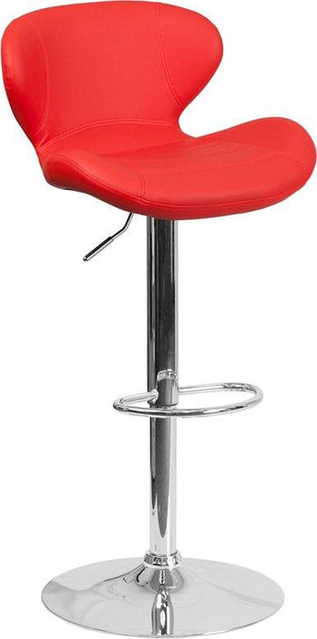Flash Furniture CH-321-RED-GG Contemporary Red Vinyl Adjustable Height Barstool with Chrome Base