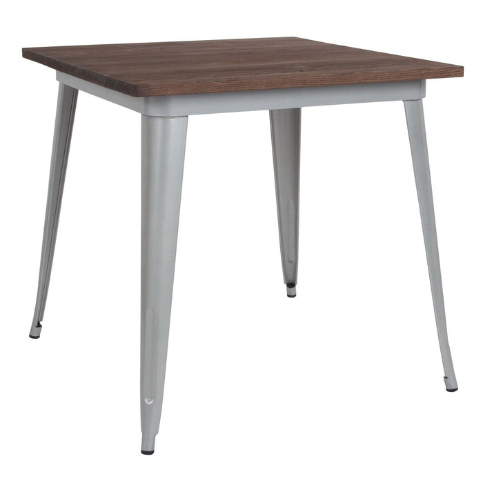 "Flash Furniture CH-51040-29M1-SIL-GG 31.5"" Square Silver Metal Indoor Table with Walnut Rustic Wood Top"