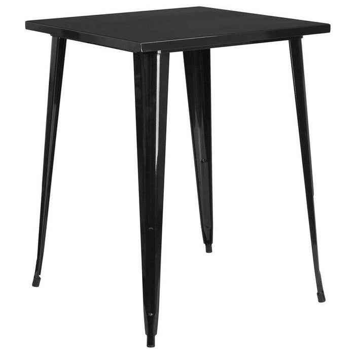 Flash Furniture CH-51040-40-BK-GG 31.5'' Square Black Metal Indoor-Outdoor Bar Height Table