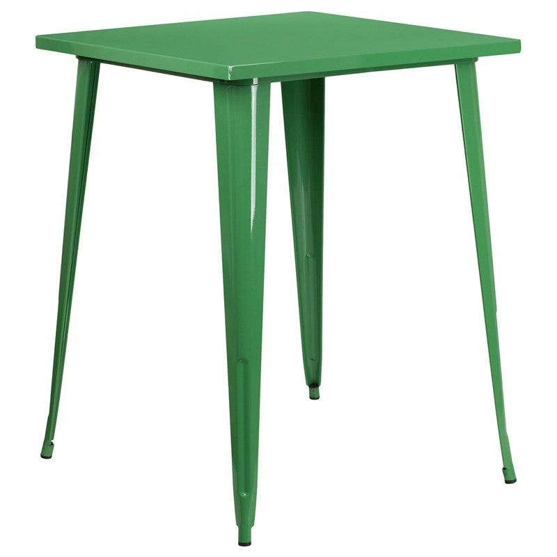 Flash Furniture CH-51040-40-GN-GG 31.5'' Square Green Metal Indoor-Outdoor Bar Height Table