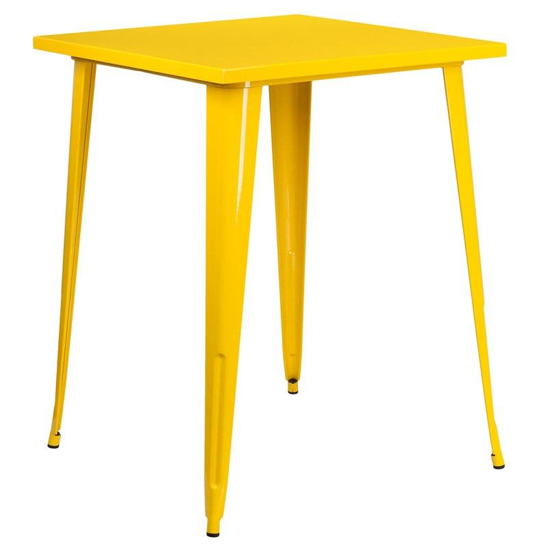 Flash Furniture CH-51040-40-YL-GG 31.5'' Square Yellow Metal Indoor-Outdoor Bar Height Table