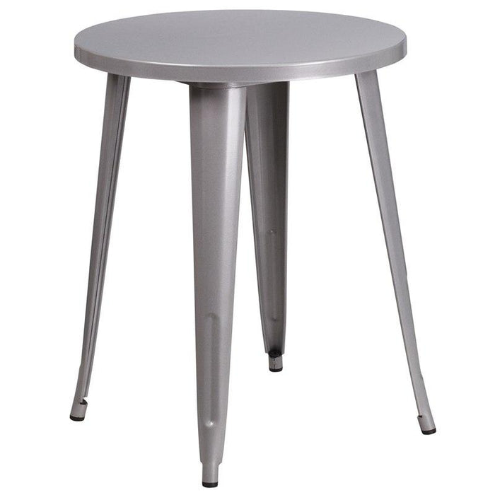 Flash Furniture CH-51080-29-SIL-GG 24'' Round Silver Metal Indoor-Outdoor Table