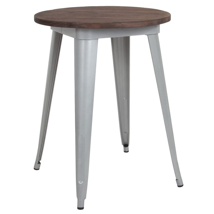 "Flash Furniture CH-51080-29M1-SIL-GG 24"" Round Silver Metal Indoor Table with Walnut Rustic Wood Top"