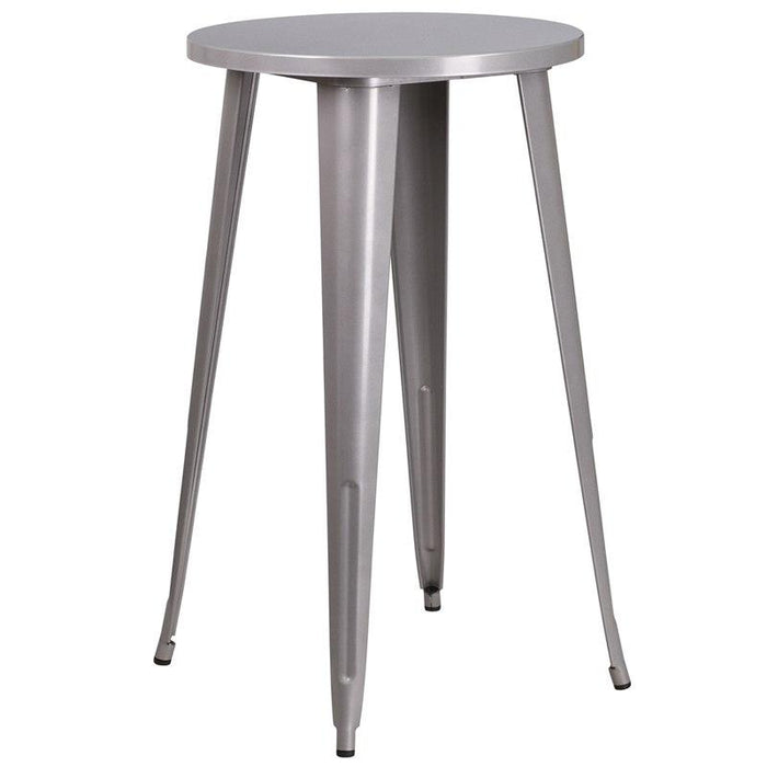 Flash Furniture CH-51080-40-SIL-GG 24'' Round Silver Metal Indoor-Outdoor Bar Height Table