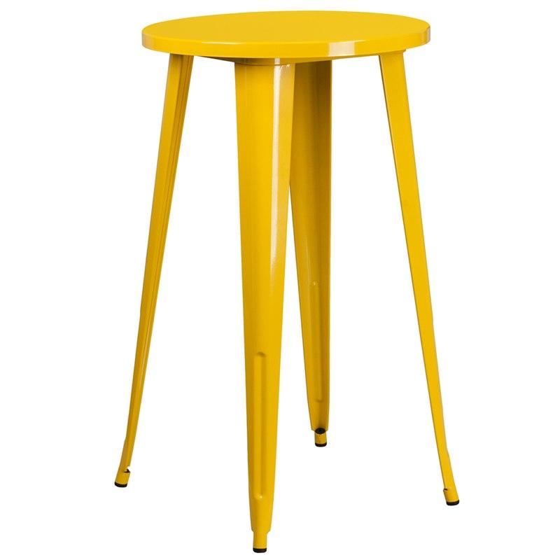 Flash Furniture CH-51080-40-YL-GG 24'' Round Yellow Metal Indoor-Outdoor Bar Height Table