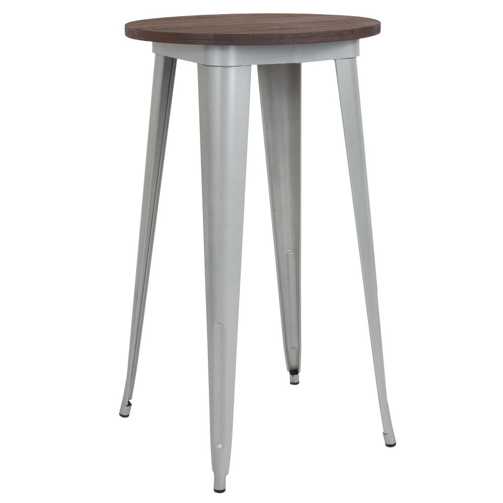 "Flash Furniture CH-51080-40M1-SIL-GG 24"" Round Silver Metal Indoor Bar Height Table with Walnut Rustic Wood Top"