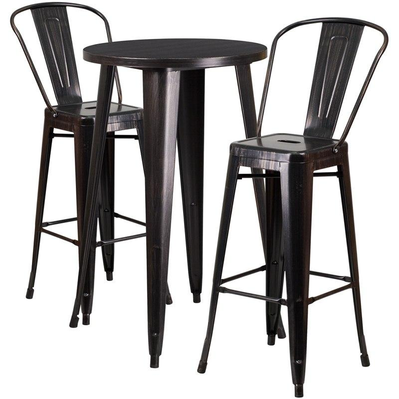 Flash Furniture CH-51080BH-2-30CAFE-BQ-GG 24'' Round Black-Antique Gold Metal Indoor-Outdoor Bar Table Set with 2 Cafe Stools